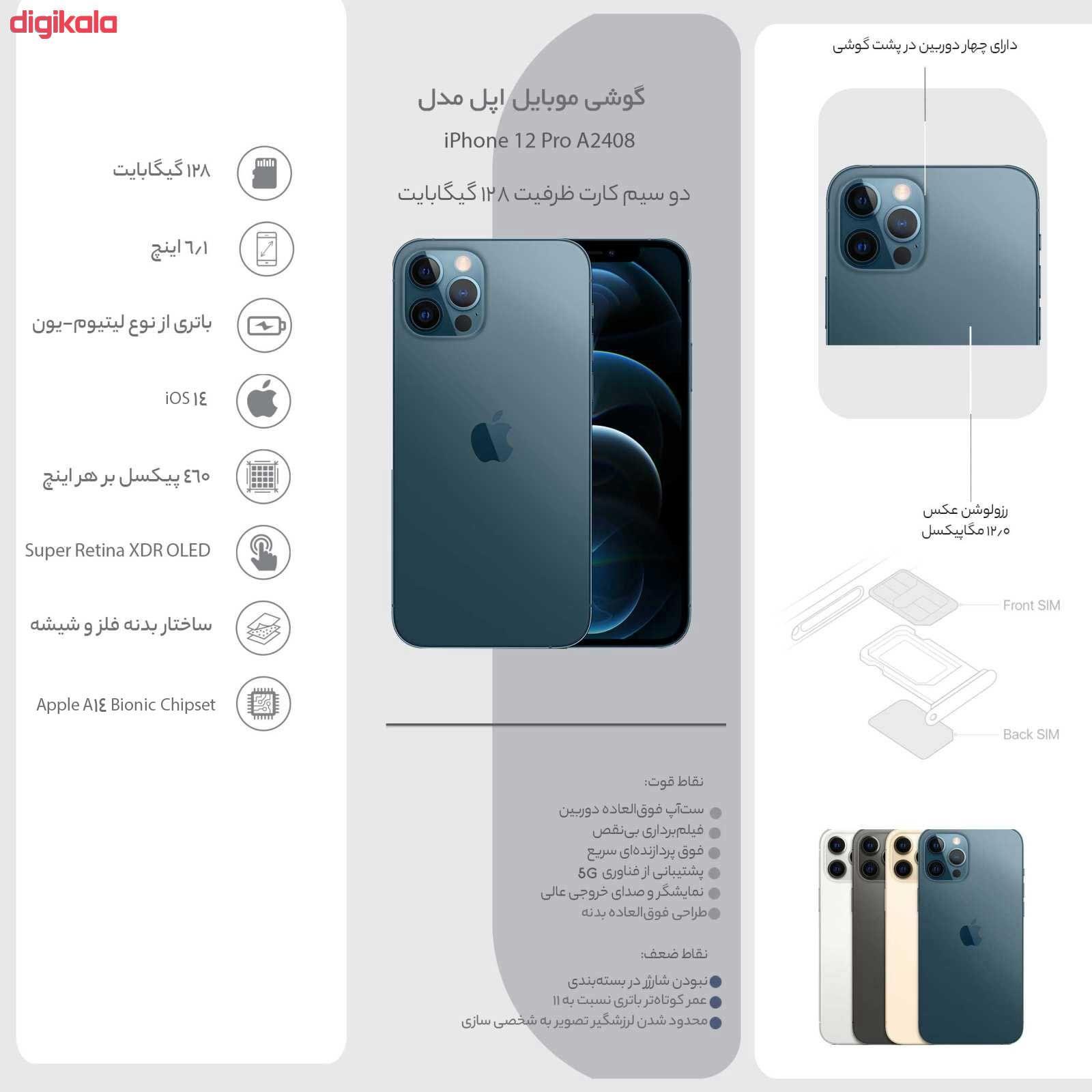 گوشی موبایل اپل مدل iPhone 12 Pro A2408 دو سیم کارت ظرفیت 256 گیگابایت main 1 9