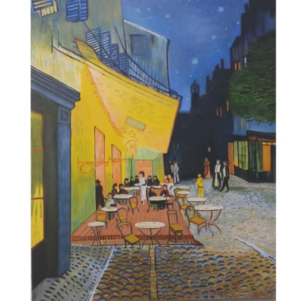 تابلو نقاشی رنگ روغن طرح کافه در شب