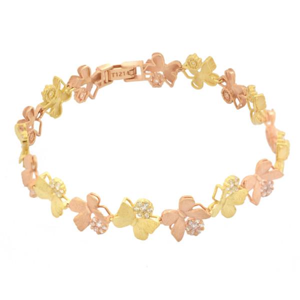 دستبند طلا 18 عیار زنانه طلای مستجابی مدل گل و پروانه کد 67155