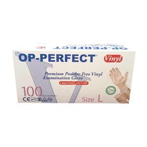 دستکش یکبار مصرف اپ پرفکت مدل ونیل بسته 100 عددی