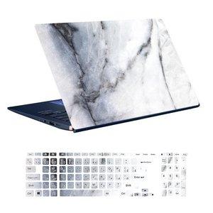 استیکر لپ تاپ توییجین و موییجین طرح Marble کد 13 مناسب برای لپ تاپ 15.6 اینچ به همراه برچسب حروف فارسی کیبورد