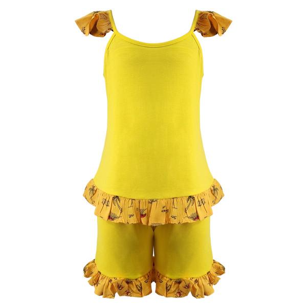 ست تاپ و شلوارک دخترانه افراتین کد 0008 رنگ زرد