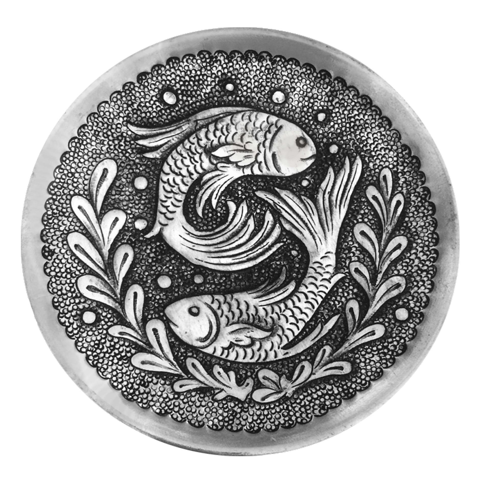 بشقاب قلمزنی طرح ماهی کد 111