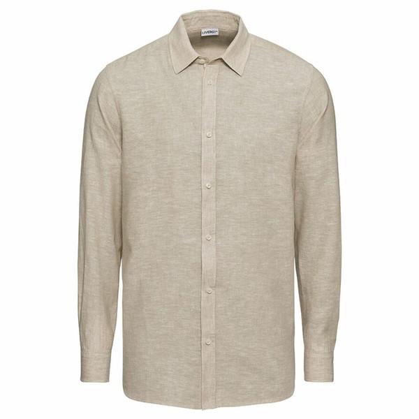 پیراهن آستین بلند مردانه لیورجی مدل LS3068492 رنگ کرم