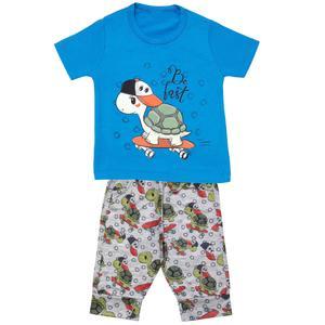 ست تی شرت و شلوارک پسرانه مدل لاک پشتکد 3300 رنگ آبی