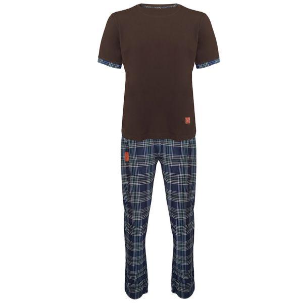 ست تی شرت و شلوار مردانه لباس خونه مدل طه 991217 کد 4683708 رنگ زیتونی