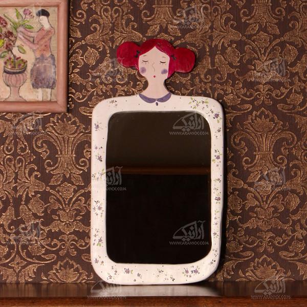 آینه چوبی رنگ آمیزی  رنگ سفید طرح سارا مدل 1509700003