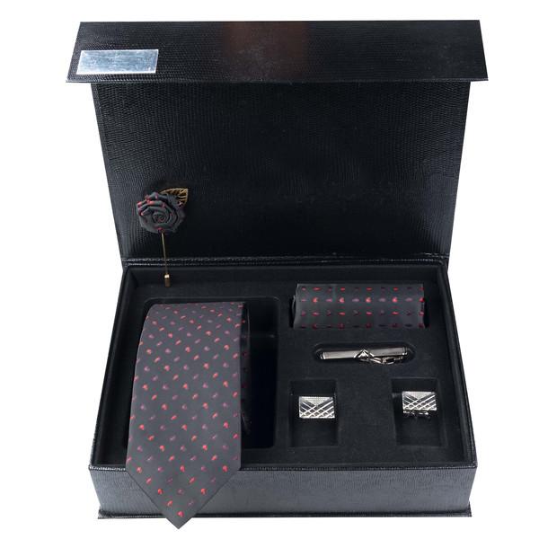 ست کراوات و دستمال جیب و دکمه سردست و گل کتمردانه جیان فرانکو روسی مدل GF-PA968-BK-BOX