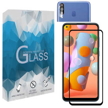 محافظ صفحه نمايش مدل FLGSP مناسب برای گوشی موبایل سامسونگ Galaxy A11 به همراه محافظ لنز دوربین