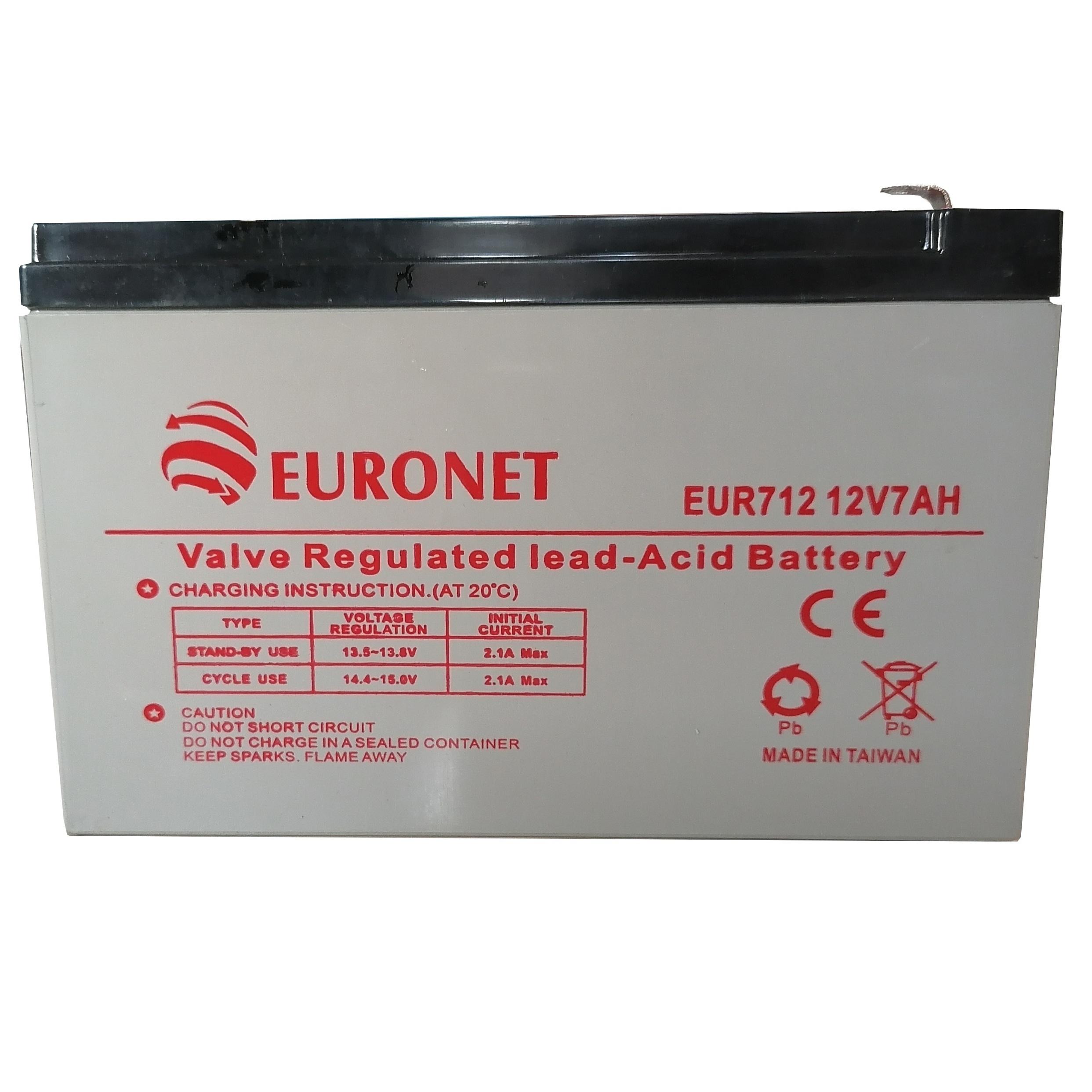 بررسی و خرید [با تخفیف]                                     باتری یو پی اس 12 ولت 7000 میلیآمپر ساعت یورونت مدل EUR712                             اورجینال