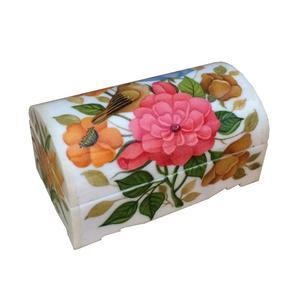 جعبه جواهرات استخوانی طرح گل و مرغ کد B 283