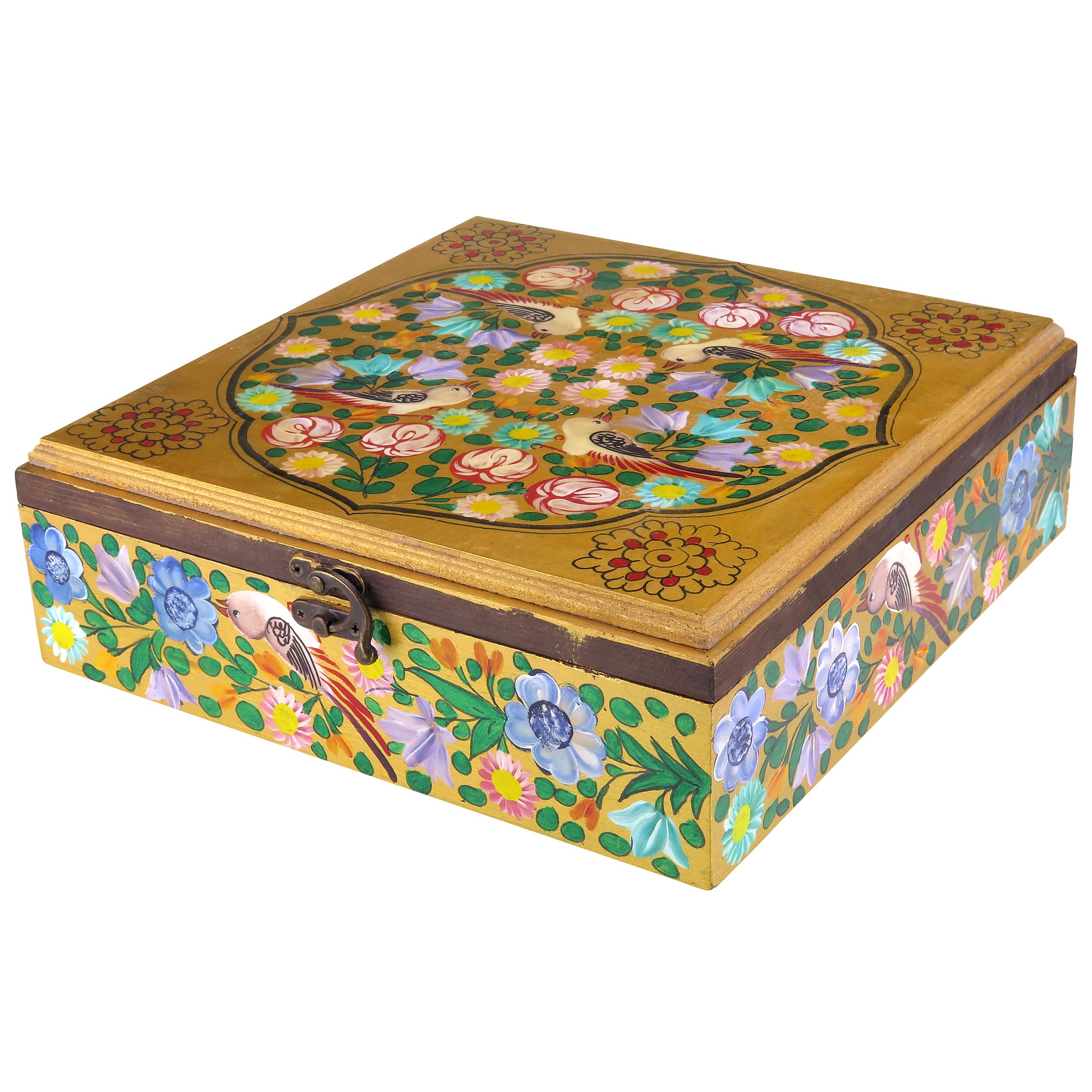 جعبه هدیه چوبی طرح گل و مرغ مدل srmd04