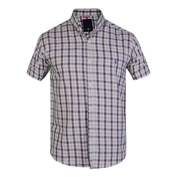 پیراهن آستین کوتاه مردانه  پولو مدل چهارخانه رنگ آبی