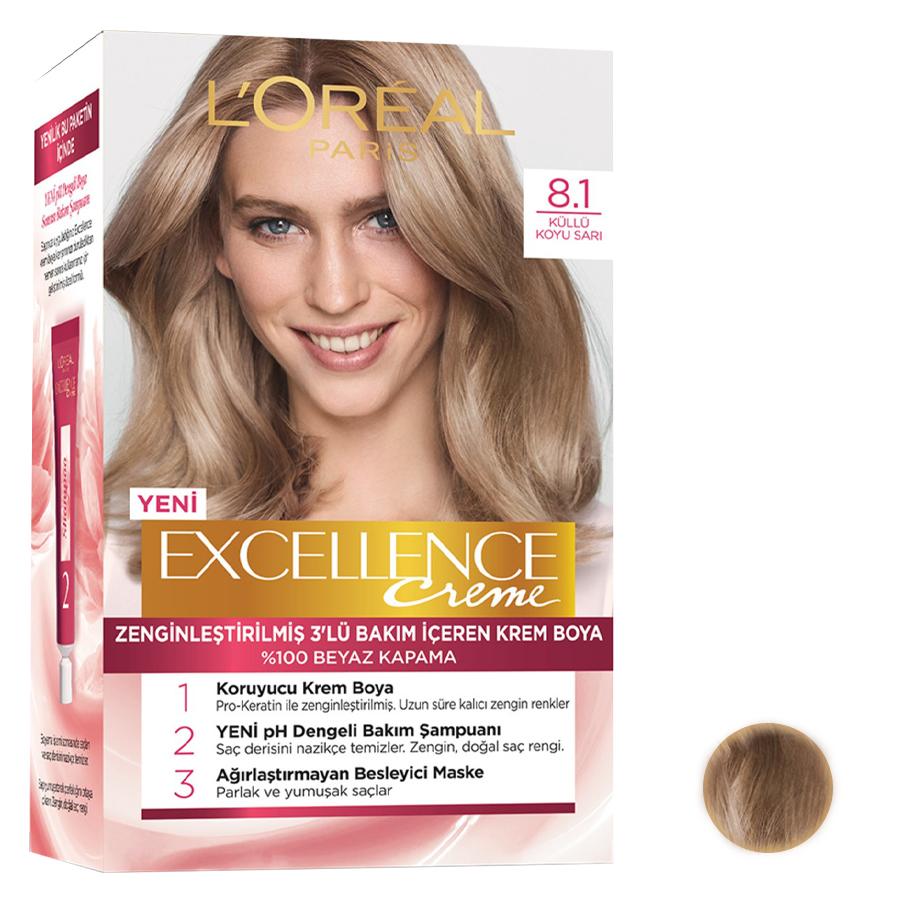 کیت رنگ مو لورآل مدل Excellence شماره 8.1 حجم 48 میلی لیتر رنگ دودی بلوند
