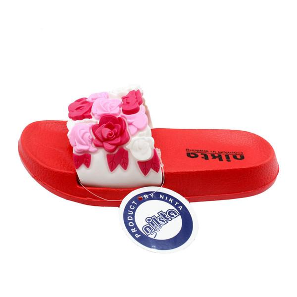 دمپایی دخترانه نیکتا مدل گل کد 01-397 رنگ قرمز