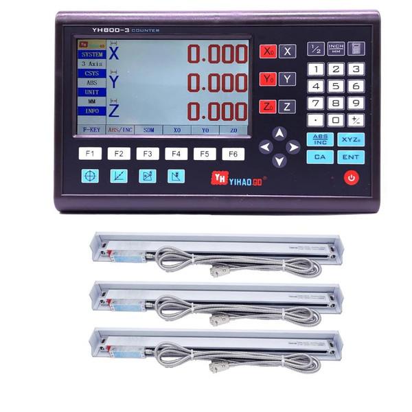 خط کش دستگاه فرز مدل dro-520 مجموعه 3 عددی همراه نمایشگر دیجیتال