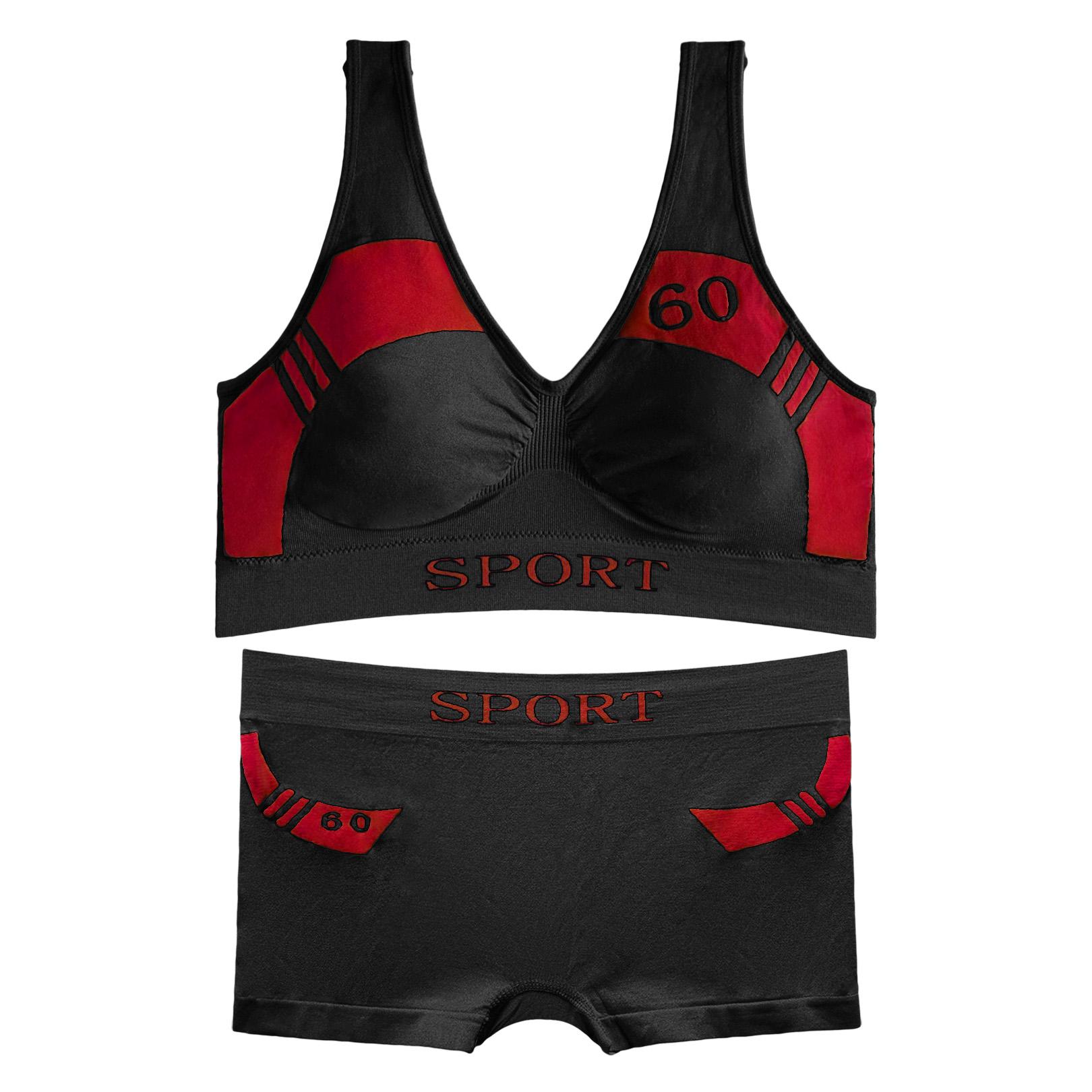 ست نیم تنه و شورت ورزشی زنانه کد 01-88831 رنگ مشکی