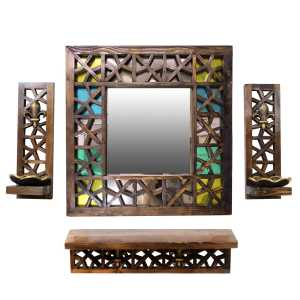 آینه و کنسول دست نگار طرح گره چینی به همراه 2 عدد جاشمعی