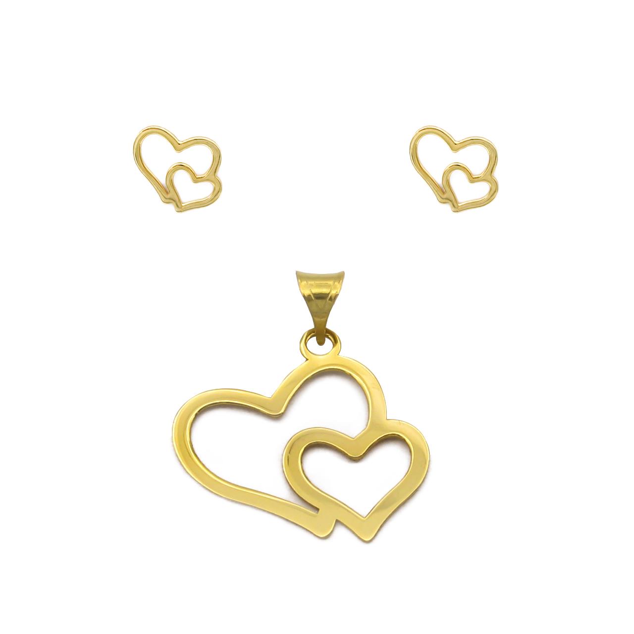 نیم ست طلا 18 عیار زنانه کاپانی مدل قلب کد KS004