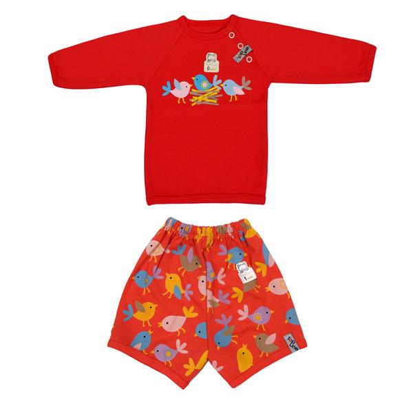 ست تی شرت آستین بلند و شلوارک نوزادی تاپ لاین طرح جوجه کد 003sj