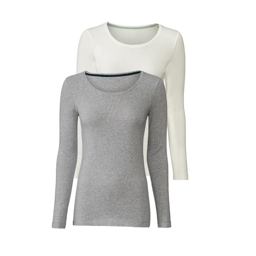 تی شرت آستین بلند زنانه اسمارا مدل 317789 مجموعه 2 عددی