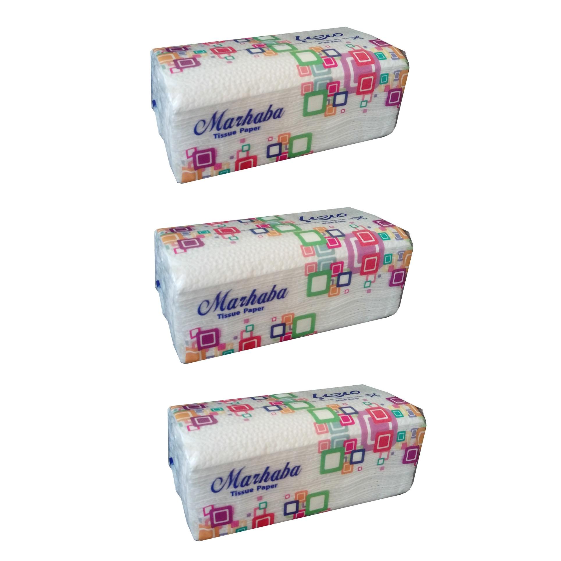 دستمال کاغذی 100 برگ مرحبا مدل 01بسته 3 عددی
