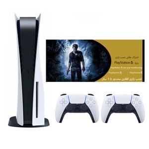 مجموعه کنسول بازی سونی مدل PlayStation 5 ظرفیت 825 گیگابایت به همراه دسته اضافی وکارت طلایی اشتراک نصب بازی