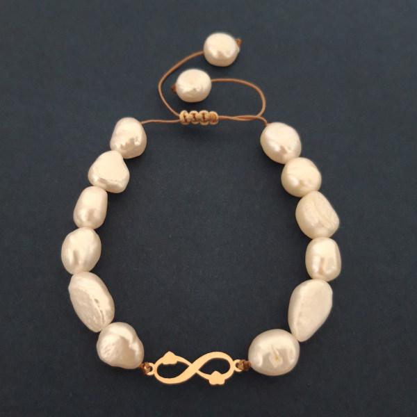 دستبند طلا 18 عیار زنانه الماسین آذر طرح بی نهایت مدل BINA02