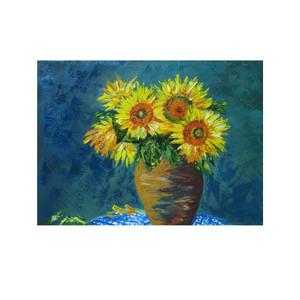 تابلو نقاشی رنگ روغن مدل گل های آفتاب گردان کد 47