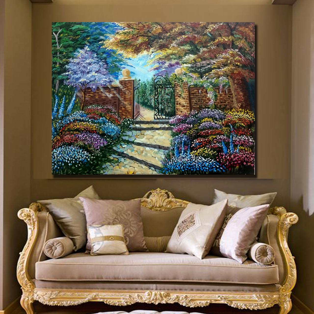 خرید                      تابلو نقاشی اکریلیک طرح باغ گلها کد 0059
