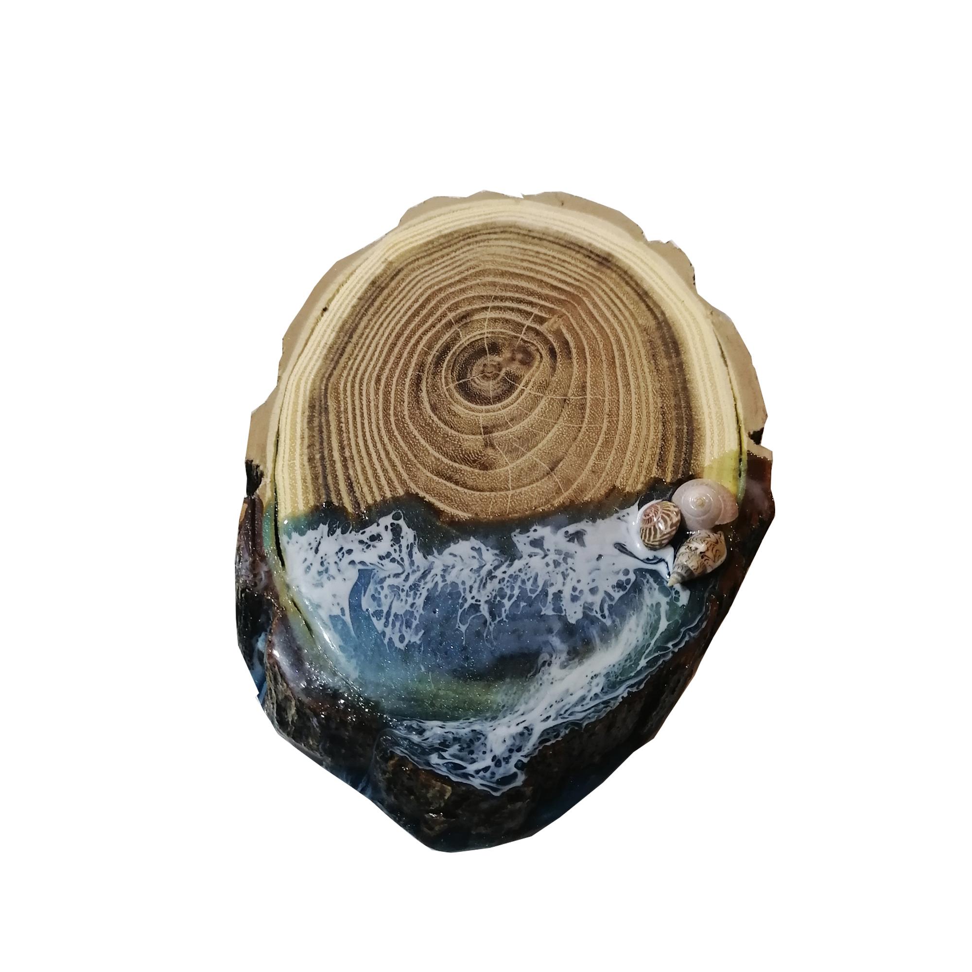 زیر لیوانی  مدل چوب و رزین طرح دریا بسته 6 عددی