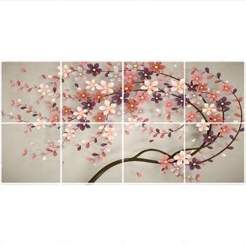 تایل سقفی طرح درخت شکوفه کد 1769-8 سایز 60x60 سانتی متر مجموعه 8 عددی