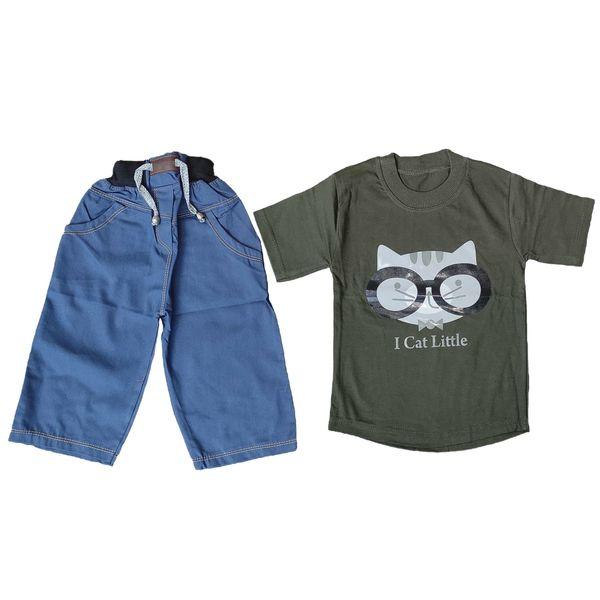 ست تی شرت و شلوارک پسرانه مدل گربه 2