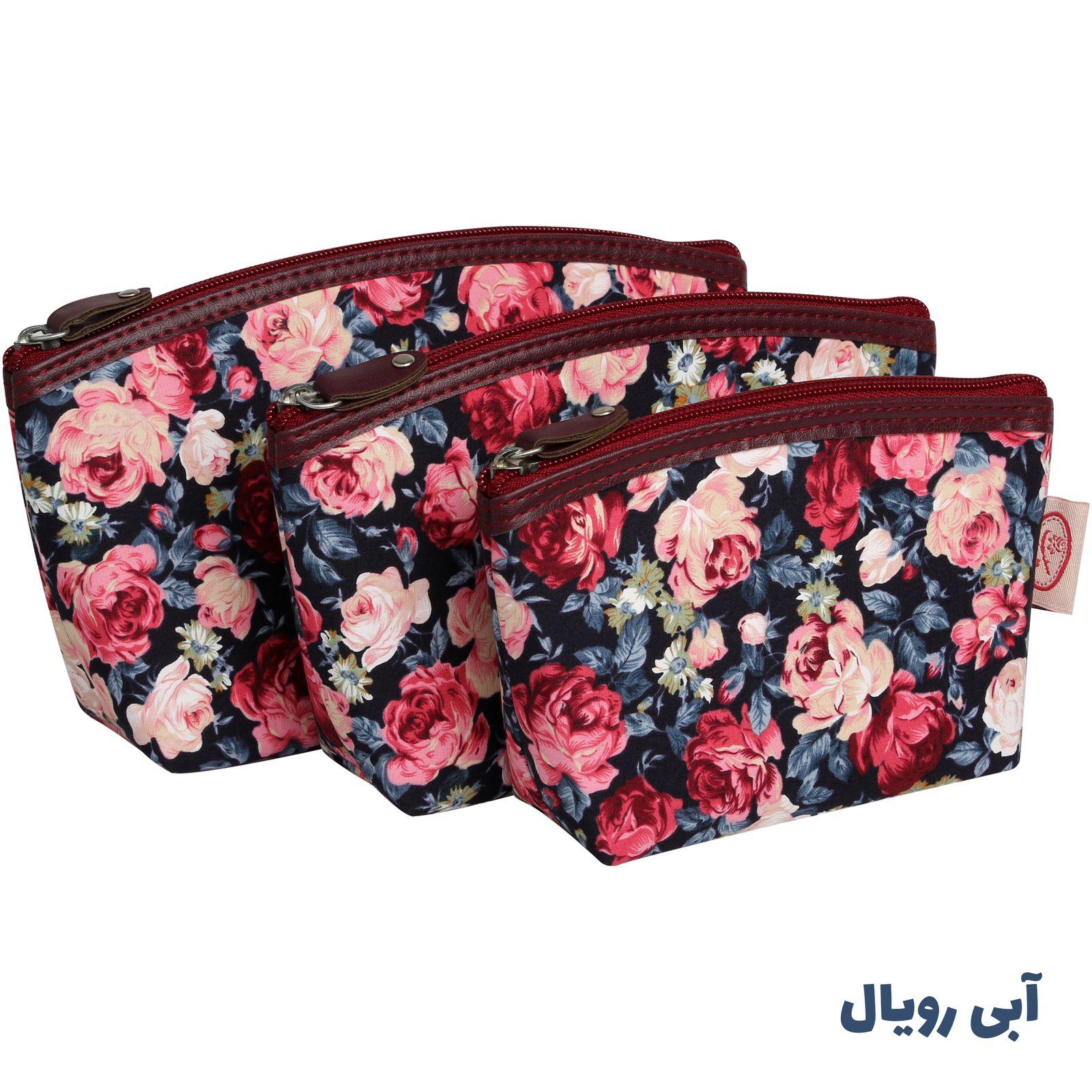 کیف لوازم آرایش زنانه سیب کد 15-Bgf مجموعه 3 عددی -  - 7