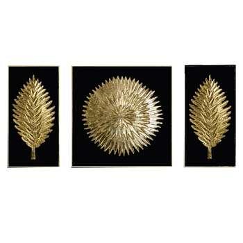 تابلو نقاشی ورق طلا طرح خورشید و برگ کد 134 مجموعه3عددی