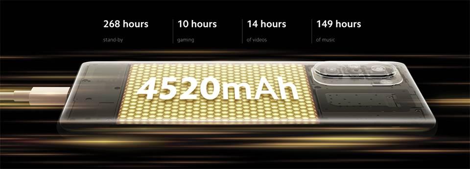 گوشی موبایل شیائومی POCO F3 باتری لیتیوم-پلیمر با ظرفیت 4520 میلیآمپرساعت