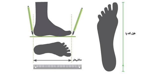 راهنمای سایز کفش ورزشی مردانه آندر آرمو